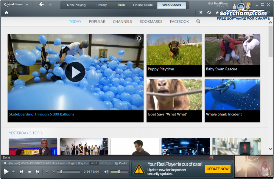 realPlayer Web videos