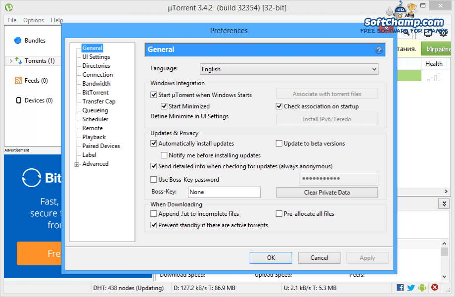 uTorrent Preferences Languages